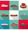 sea boat icons set flat style vector image vector image