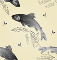 Seamless texture Trout jumps in stream vector image