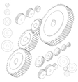 set gear wheels in black and white by changing vector image
