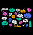 set of speech bubbles in hand drawn style vector image