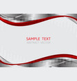 silver and red wave background with copy space vector image vector image