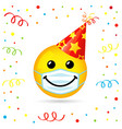 smiling in medical mask party hat vector image vector image