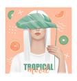 tropical mood t-shirt fashion print with girl vector image
