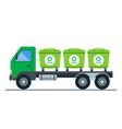 truck transportation garbage bins vector image vector image