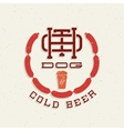 Vintage Hot Dog and Cold Beer Emblem Sign vector image vector image
