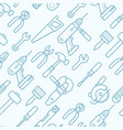 Work tools seamless pattern with thin line icons
