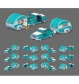 Low poly turquoise retro pickup with trailer house vector image