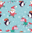 seamless pattern with santa claus snowman vector image