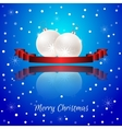 Christmas card with a red banner and white vector image