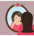 girls with acne pimple looking into mirror skin vector image