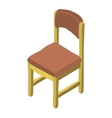cartoon isometric wood chair icon vector image