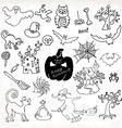Sketch doodle Halloween icon set Hand draw vector image