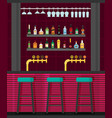 Bar counter with stools and alcohol drink on