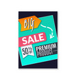 big sale poster promotional fashion premium vector image vector image