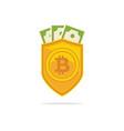 bitcoin trust symbol on the shield line icon vector image vector image