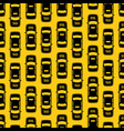 black taxi traffic seamless pattern on yellow vector image vector image