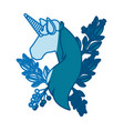 blue silhouette of faceless unicorn with floral vector image