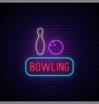 bowling neon sign bright neon signboard light vector image vector image