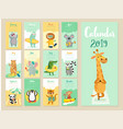 calendar 2019 cute monthly with forest vector image vector image