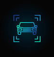 car blue line icon on dark background vector image vector image