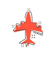 cartoon airplane icon in comic style airport vector image vector image