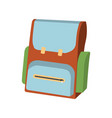 cartoon schoolbag icon schools supplies vector image vector image