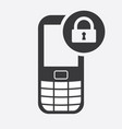 cell phone icon with padlock sign vector image