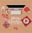 christmas desktop computer scene in top view with vector image