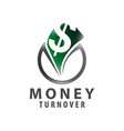 circle money turnover logo concept design symbol vector image vector image