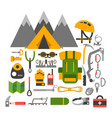 climbing trekking equipment set vector image