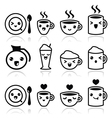Cute coffee cappuccino and espresso Kawaii icons vector image vector image
