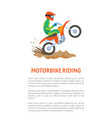 extreme sport motorbike riding postcard vector image vector image