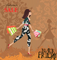 Fashion woman with shopping Autumn sale Black vector image