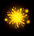 fireworks bursting in yellow color on black vector image vector image