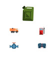 flat icon petrol set of van petrol container and vector image vector image