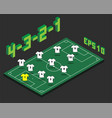 football 4-3-2-1 formation with isometric field vector image vector image