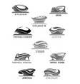 football arena or sport stadium icons set vector image