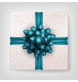 Gift box with blue ribbon bow EPS 10 vector image vector image