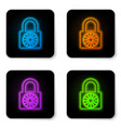 glowing neon safe combination lock wheel icon vector image vector image