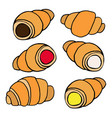 hand drawn croissants with various fillings in a vector image