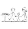 happy family walking on way to future cartoon vector image vector image