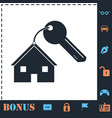 house key icon flat vector image vector image