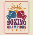 intage poster for a boxing vector image vector image