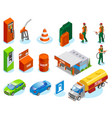 isometric gas station icons vector image vector image