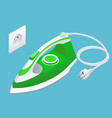 isometric steam iron and power socket on blue vector image vector image