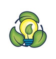 nice bulb with leaf inside and leaves around vector image vector image