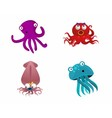 Octopus and cute sea animals vector image vector image