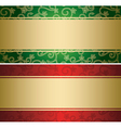 red and green backgrounds with golden decor - card vector image vector image