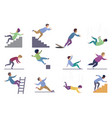 set falling male isolated falling from chair vector image