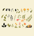 set isolated nature elements vector image